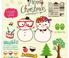 snowmen love you doodle vector