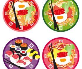 spicy noodles doodle vector