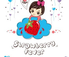 strawberry fever doodle vector