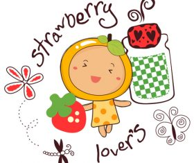 strawberry lover doodle vector