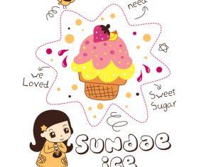 sundae ice girl doodle vector