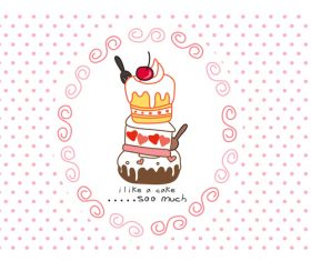 sweet cake cartoon doodle vector