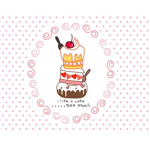 sweet cake cartoon doodle vector