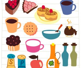 tea, coffee and cake doodle vector