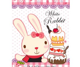 white rabbit cartoon doodle vector