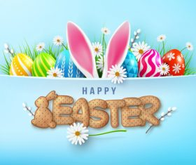3d realistic greeting card happy easter vector