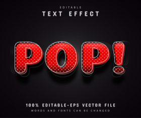 3d red pop art text effect vector