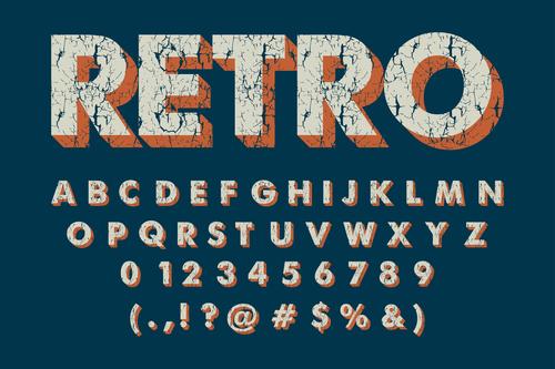 ALPHABET vintage grunge vector