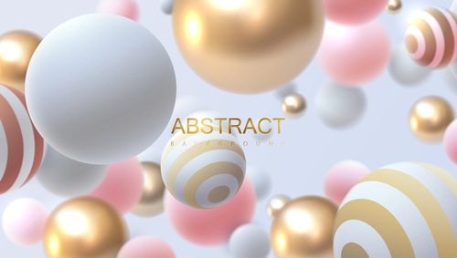 Abstract background with bouncing 3d spheres vector