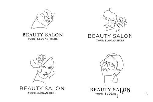 Abstract hand drawn woman logo template collection vector
