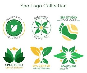 Abstract spa logo collection vector