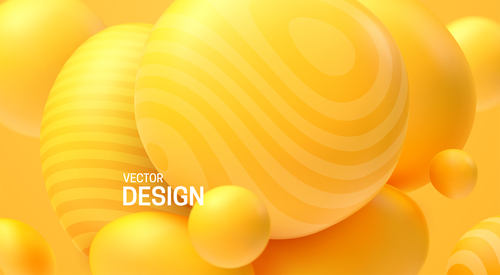 Abstract yellow ball background vector
