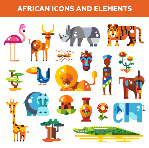 Africa flat design style icons set vector