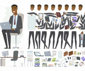 African businessman character constructor vector