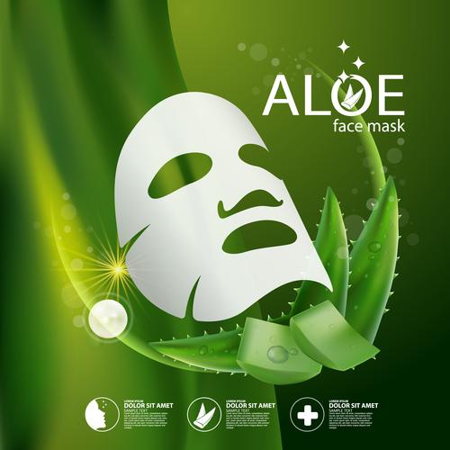 Aloe mask skin care cosmetics vector