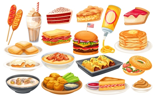 American food element icons for design vector