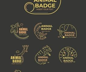 Animal badge design elements vector