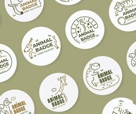 Animal badge design elements vector set
