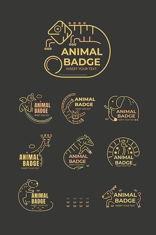 Animal badge design elements vector