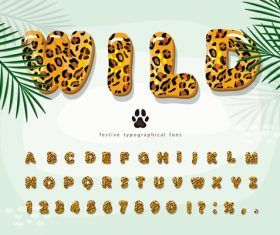 Animal skin pattern festive typographica font vector
