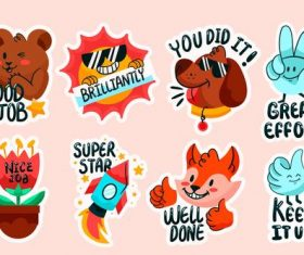 Animal stickers cartoon collection vector