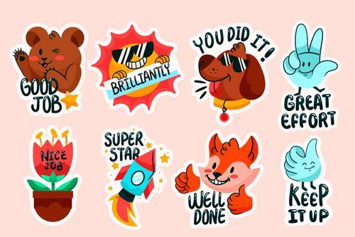 Animal stickers cartoon collection vector