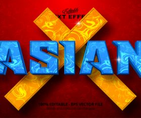Asian 3d effect text design vector