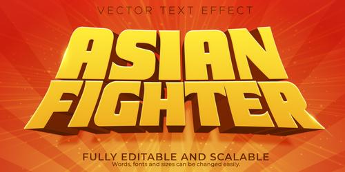 Asian fighter 3d effect text design vector