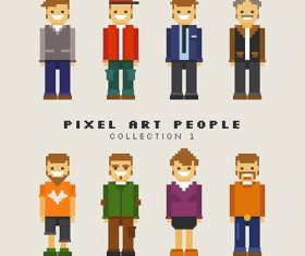 Assortment pixelated men vector