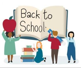 Back to school cartoon illustration vector