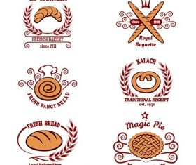 Bakery bread logo set vector