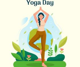 Balance yoga pose cartoon illustration vector