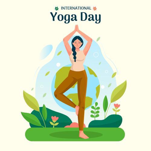 Balance yoga pose cartoon illustration vector