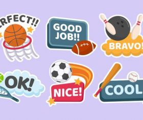 Ball stickers cartoon collection vector