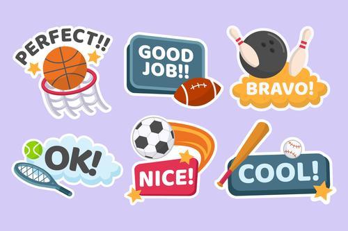 Ball stickers cartoon collection vector