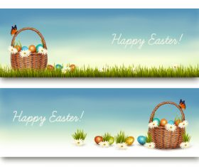 Banner easter card vector