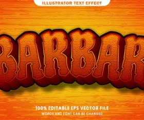 Barbar 3d editable text style effect vector