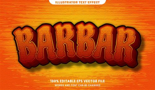 Barbar 3d editable text style effect vector