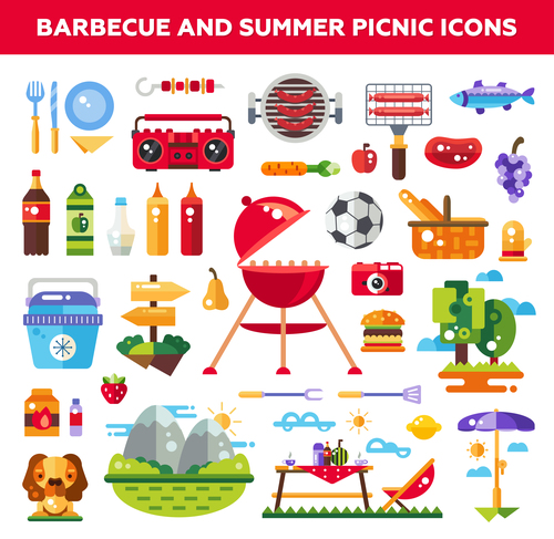 Barbecue and summer picnic flat design icons vector