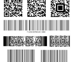 Barcode qr code collection vector