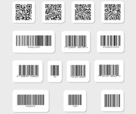 Barcode qr code data identification bar vector