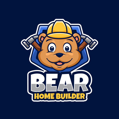 Bear home builder logos design vector