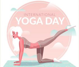 Beautiful woman yoga cartoon illustration vector