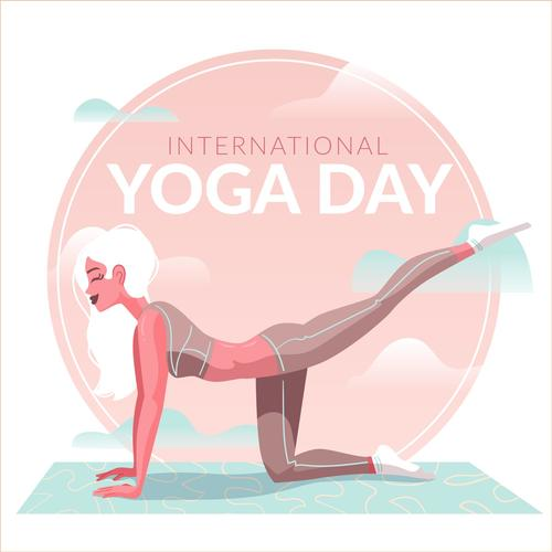 Beautiful woman yoga cartoon illustration vector