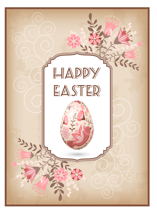 Beautifully decorated Easter greeting card vector
