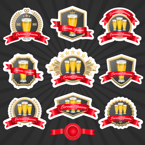 Beer label and ribbon vector