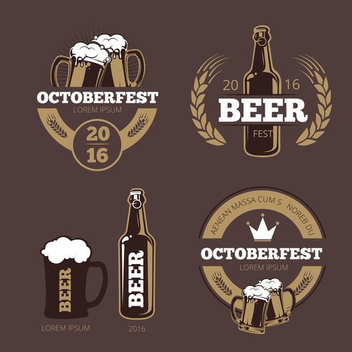 Beer label template vector for bar