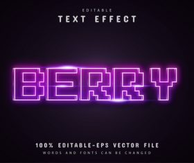 Berry text purple pixel neon text effect vector
