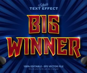 Big winner 3d effect text design vector