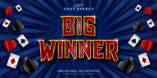 Big winner 3d effect text design vector